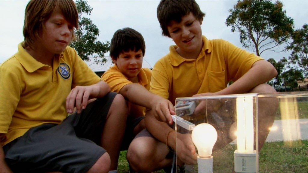 students with energy metres testing light bulbs
